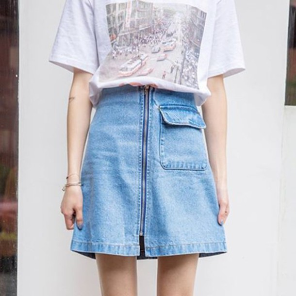 Skirt: itgirl shop, denim, denim skirt, zipepr, zipped skirt ...