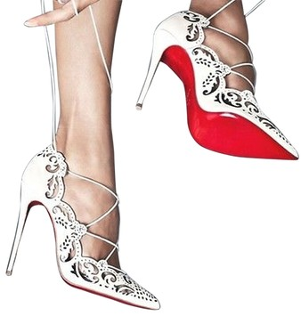 Christian Louboutin Impera Laser Cut Lace Up Size 39 (8.5) White Pumps