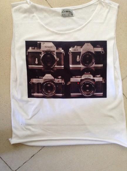 white t-shirt t-shirt vintage camera
