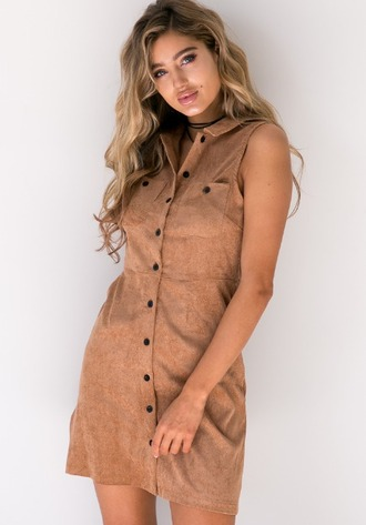dress girl girly girly wishlist button up nude brown cute corduroy fashion