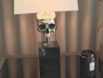 home accessory skull lamp lamp grey white kylie jenner skull