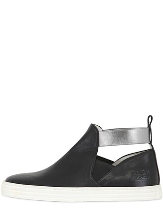 high sneakers high top sneakers leather black shoes