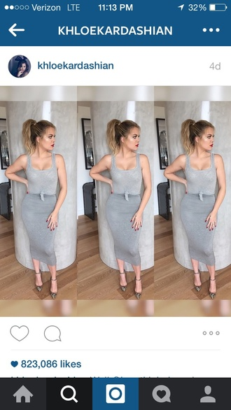 dress grey khloe kardashian skirt khloe kardashian.