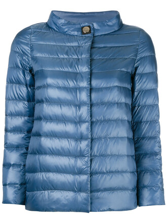 jacket puffer jacket high women high neck cotton blue