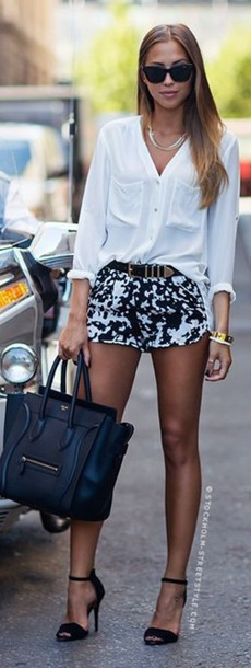 shorts printed shorts black and white printed shorts summer