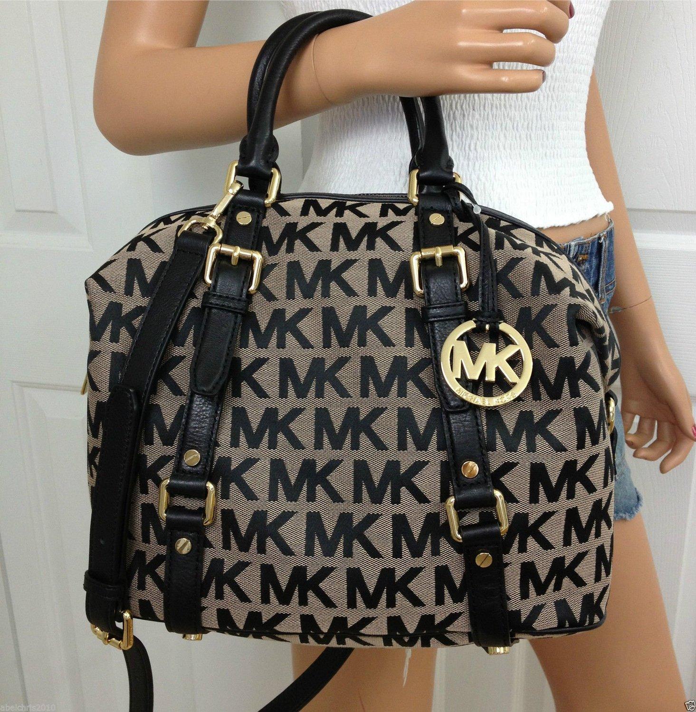 18e91cefc89e Michael Kors Khaki Black Signature Medium Mk Bedford Leather Satchel  Bowling Bag: Handbags: Amazon.com