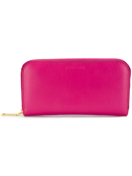 Etro - zip-around purse - women - Calf Leather/Polyester - One Size, Pink/Purple, Calf Leather/Polyester
