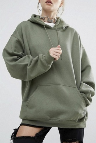 sweater olive green khaki hoodie oversized sweater oversized
