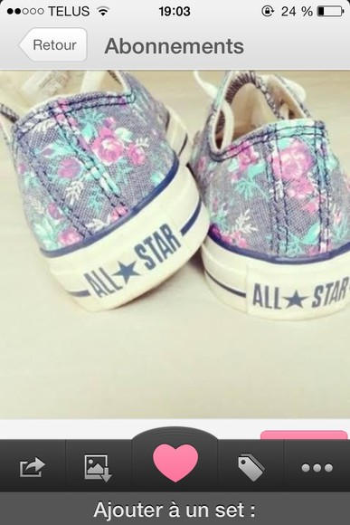 shoes pink flowers cute shoes all star