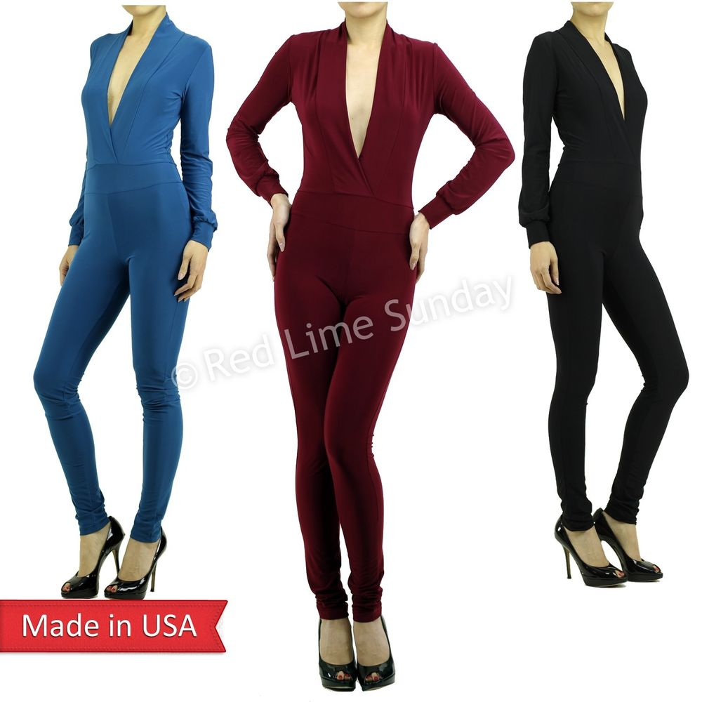 New Color One-Piece Plunging Deep V Neckline Jumpsuits Romper Pants Bottoms USA