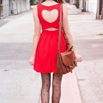 dress heart cute red hipster girl cute dress heart dress pretty tights bag