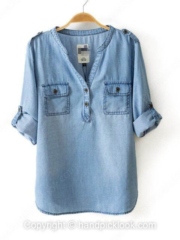 blouse denim blouse long sleeve blouse top