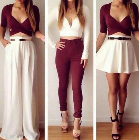 white clothes top burgundy maroon and white date maroon/burgundy maroon shirt white t-shirt maroon skater skirt skirt crop tops pants shoes white and maroon christmas holiday season fall outfits date outfit