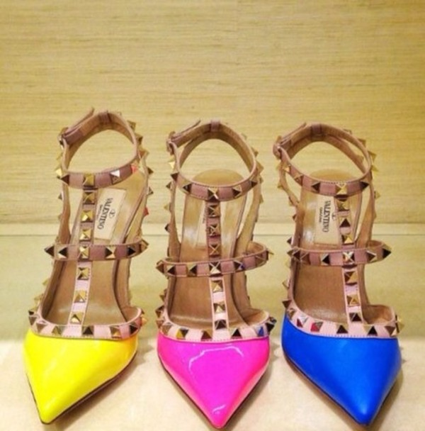 shoes pink blue and yellow heels