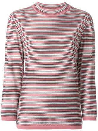 top striped top women silk wool