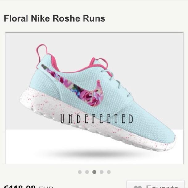 shoes nike roshe run sneakers roses light blue nike. Black Bedroom Furniture Sets. Home Design Ideas
