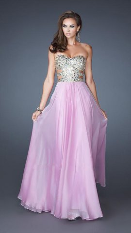 Pink strapless sequin and stone embellished prom dress [long pink sequined top prom dress]