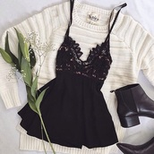 dress,black,cute,top,outfit,white,short,shoes,black dress,boho dress,cute outfits,cute top,black and white,outfit idea,sweater,white top,white sweater,sweater weather,oversized sweater,oversized,summer dress,short dress,boots,booties,black boots,black top,mini dress,mini skirt,lace,babydoll dress,dark,stripes,knitwear,knitted sweater,cardigan,white shirt,lace dress,white lace dress,knitted top,shirt,ankle boots,combat boots,black shoes,crewneck,crewneck sweater