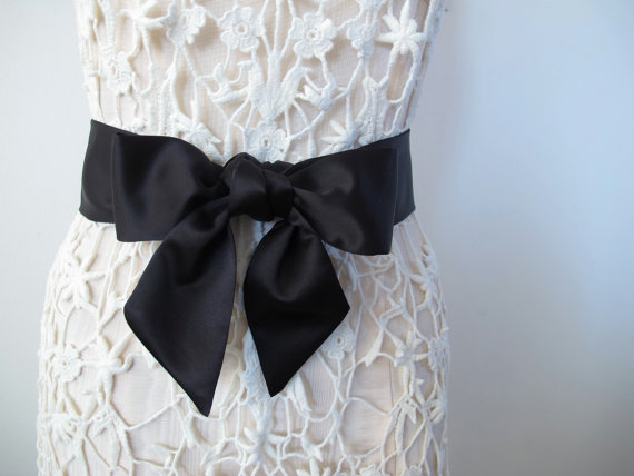 Black sash bow belt bow sash wedding sash bridesmaid by ccdoodle