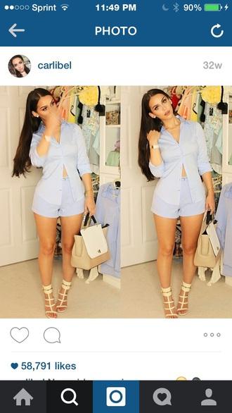 shorts blouse blue striped shirt