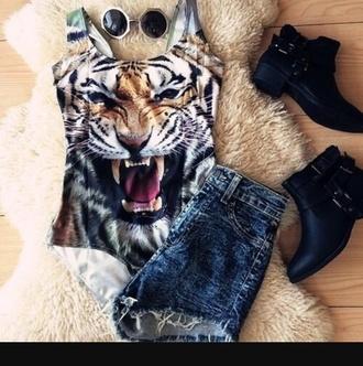 swimwear tiger style cute fashion dope