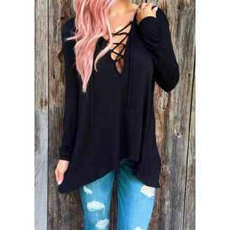 blouse black casual lace up boho boho chic streetstyle trendy casual chic top fashion long sleeves burgundy criss cross red fall outfits stylish cool girly girl girly wishlist sweater lace up top shirt