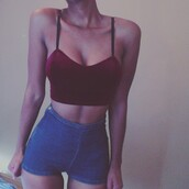 velvet,burgundy,top,red,blue,jeans,shorts,shirt