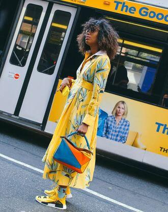dress sneakers streetstyle ny fashion week 2016 yellow yellow dress midi dress purse