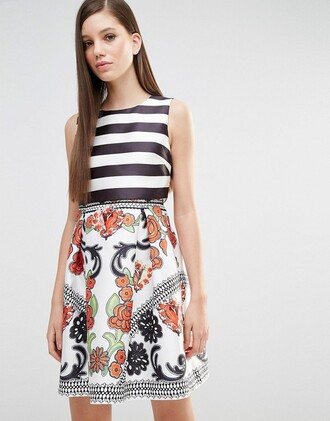 dress colorblock striped dress graduation dress floral dress