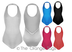 LADIES HALTER NECK STRETCHY WOMENS LEOTARD PLAIN BODYSUIT GYM DANCE BALLET TOP | eBay