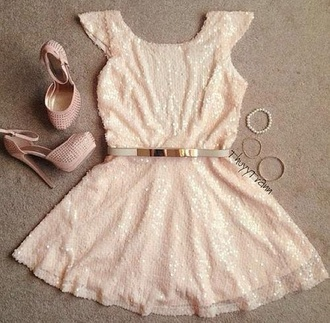 dress sparkling dress sequins sequin dress baby pink cute dress waist belt high heels party party dress shoes