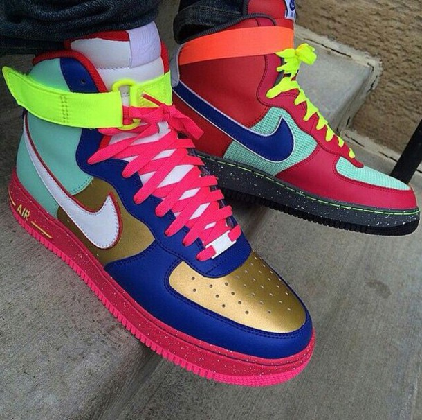 shoes, colorful nikes, multicolor, nike