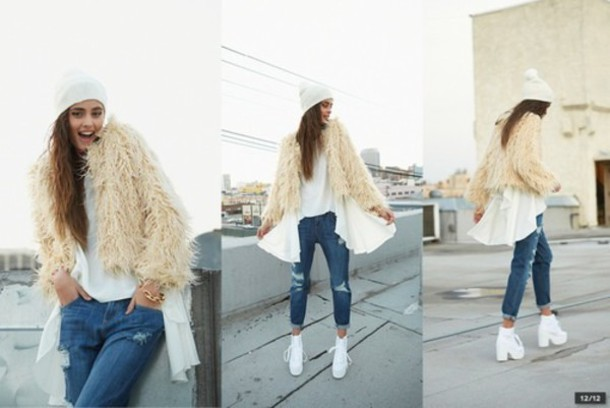 coat shoes jeans cardigan blouse
