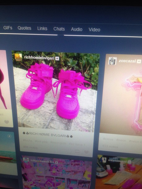 shoes neon pink shoes nike shoes sneakers high top sneakers nike air force 1 pink sneakers