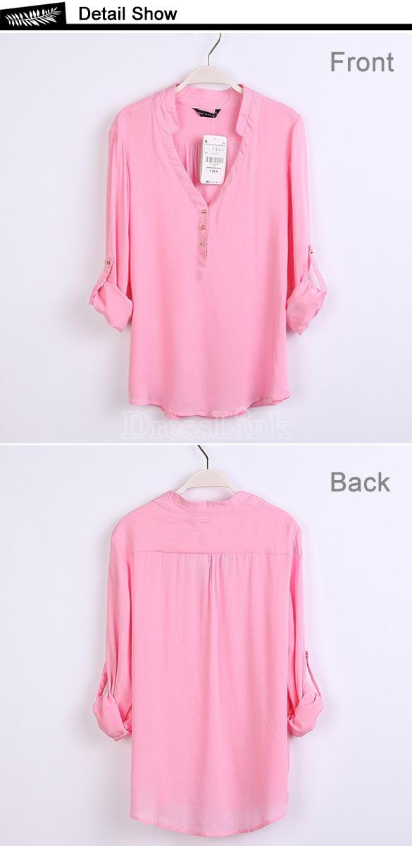 Women's Joker V Neck Candy Color Long Sleeve Shirt Top Blouse