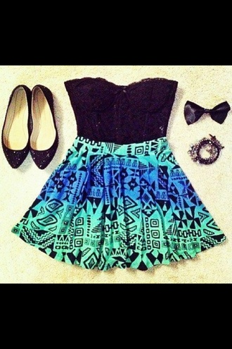 skirt aztec skirt galaxy print style help plz girly outfits tumblr aztec aztec skirts corset top top bustier bustier top black green dress green flat sandals flatforms flats tank top shoes jewels grey office outfits jewelry bracelets