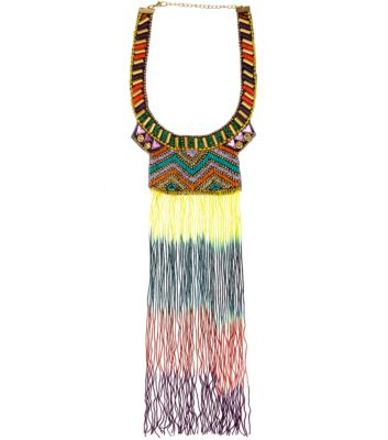 Multi Coloured Beaded Embellished Tassel Necklace
