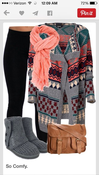 winter outfits oversized shoes grey fall aztec tribal pattern leggings scarf