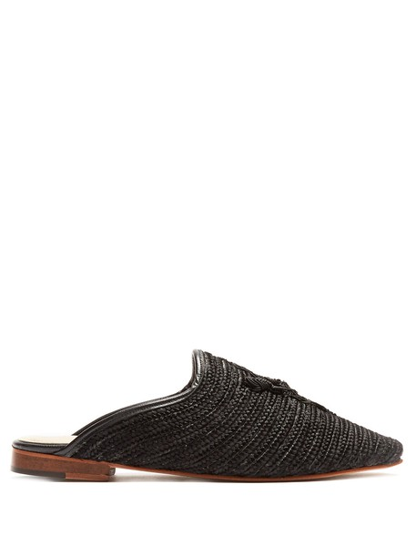 backless loafers black shoes