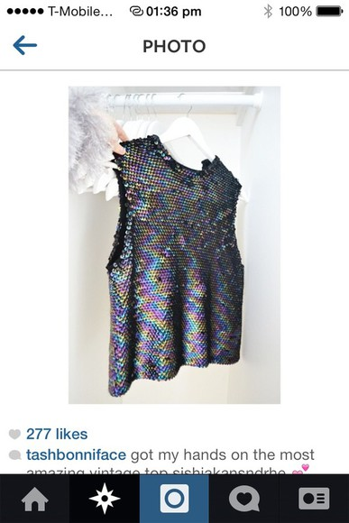 shirt retro 90s alternative vintage sparkle rainbow glitter rad metallic reflective indie fish scales