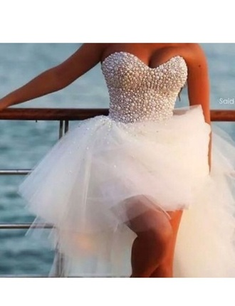 pearl short dress pearl dress white dress white prom dress short prom dress
