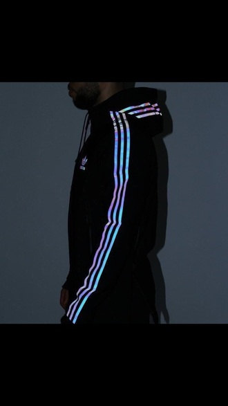 jacket adidas glow up sweatshirt windbreaker adidas jacket reflective holographic cool adidas originals iridescent sweater adidas sweater black jacket black coat white black and white black and white jacket