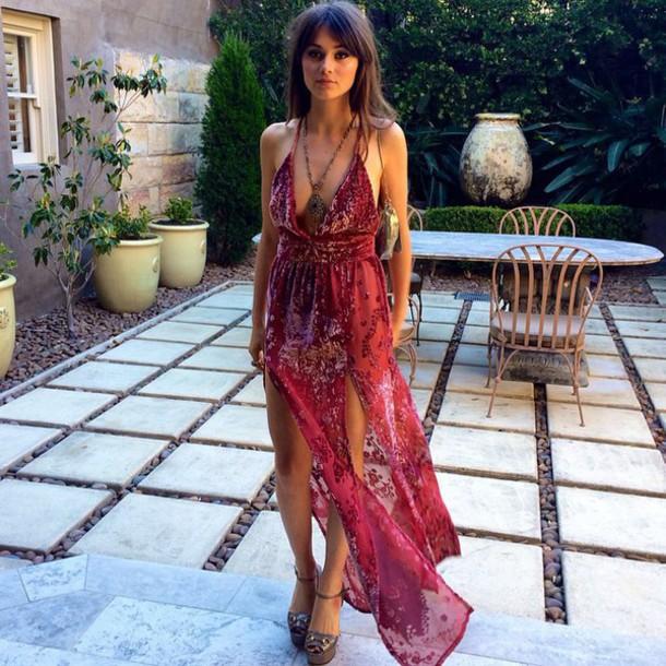 maxi, slit, maxi split dress, red paisley, paisley, velvet, evening ...