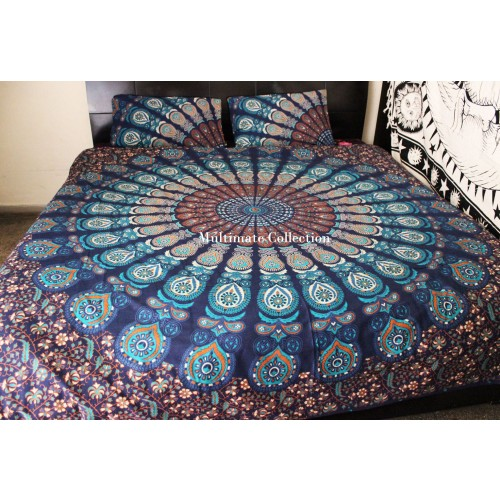Sky Peacock Duvet Cover and Pillow Case