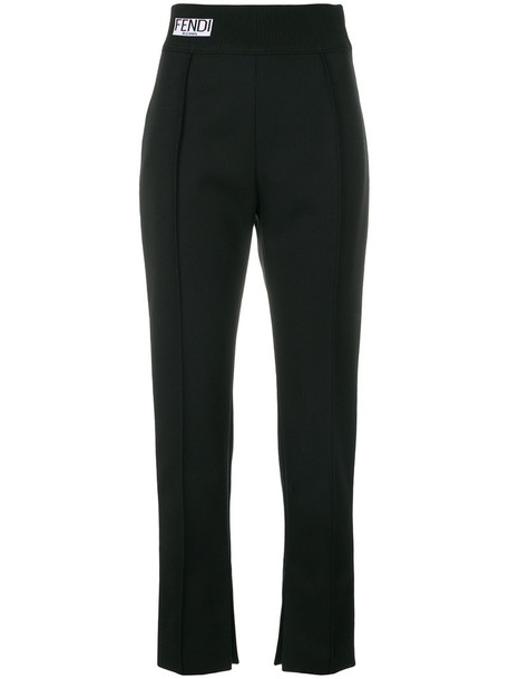 Fendi cropped women black wool pants