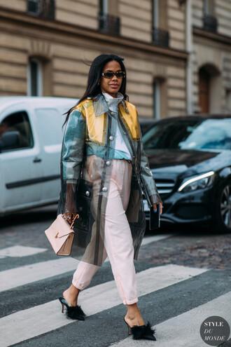 bag pink bag pants shirt coat shoes black shoes sunglasses
