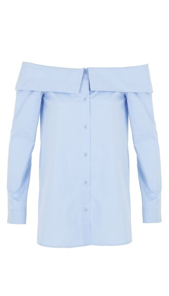 top off the shoulder shirt blue