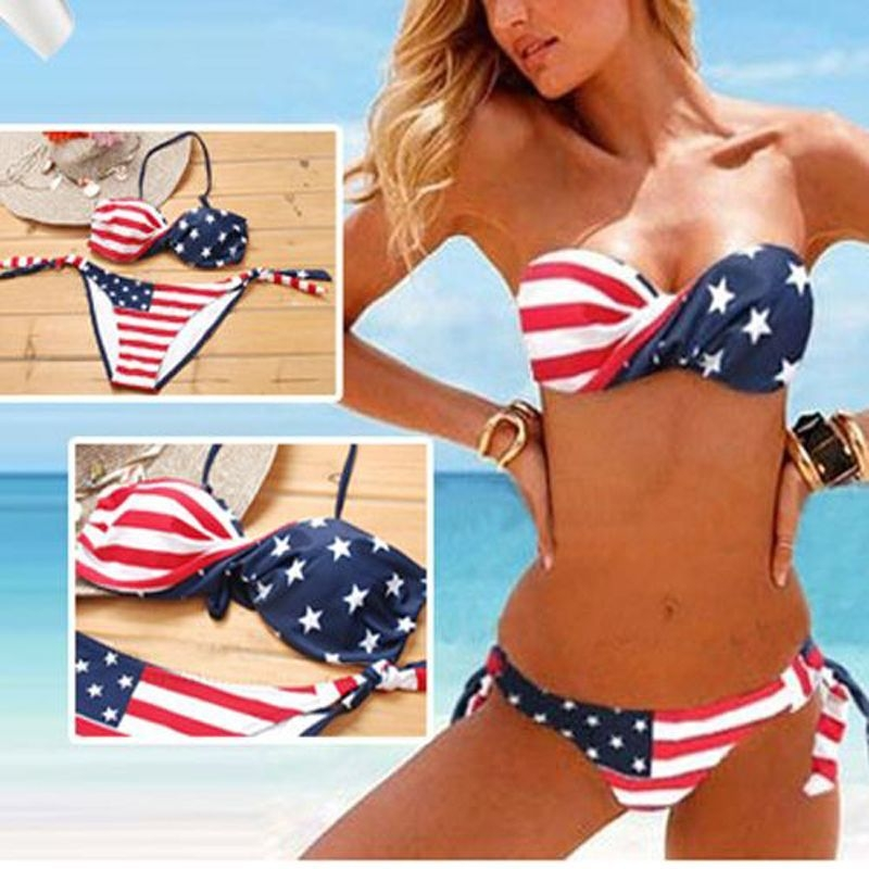 Ring in summer in true American style in the Push-Up Bikini Top from Xhilaration™. With a patriotic stars and stripes pattern, this flag bikini top is perfect for celebrating summer holidays at .