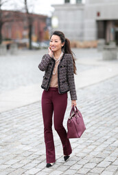 extra petite,blogger,sweater,pants,jacket,bag,shoes,tweed jacket,handbag,burgundy bag,high heel pumps