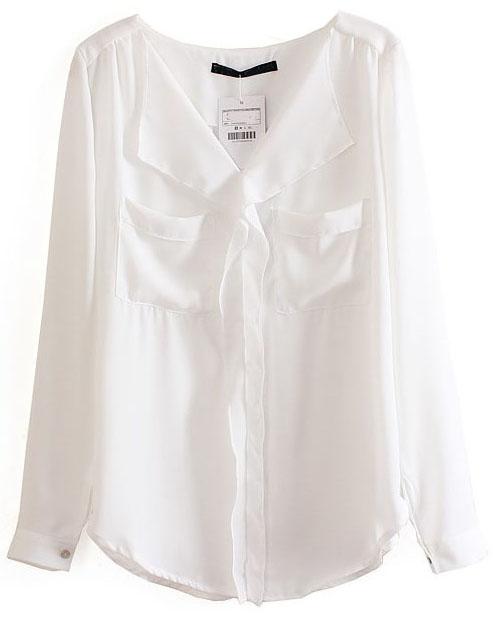 White Long Sleeve Pockets Chiffon Blouse - Sheinside.com